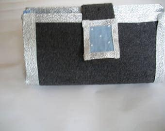 Cosmetic case grey and blue with white dots