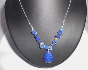 Necklace beads lapis lazuli and spacer 925 sterling silver chain