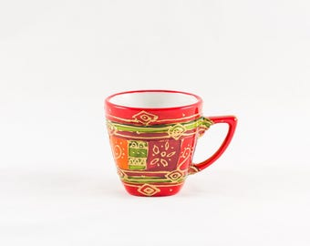 Red hand painted 10 cl porcelain coffee mug