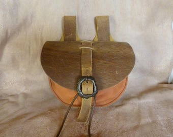 Brown orange and antique medieval type purse