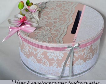 Urn with gray, and soft pink envelopes baroque button