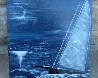 """Blue """"sailboat at Moonlight"""" table 1"""