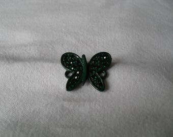 painted metal and green color rhinestone Butterfly connector dark 20 x 20