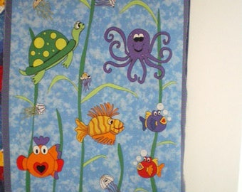 child quilt Panel sea and fish