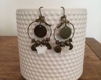 Bronze earrings, pendants bronze and star mother of Pearl