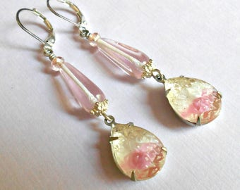 Earrings, Pink and White Teardrop Vintage Bumpy Glass, Czech Glass , Silverplated Spacers, Lever back Ear Wiress