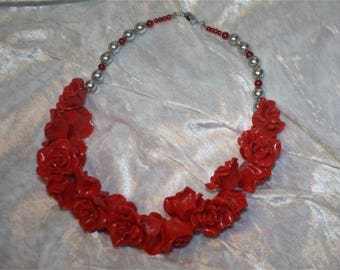 mother of Pearl polymer clay flowers and pearls necklace