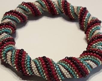 Chunky beaded spiral bracelet