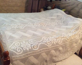 Large hand crocheted bed cover