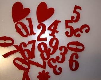 Set of 24 stickers figures for velvet red advent calendar