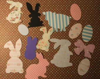 Set of 25 dies-cutouts theme Easter assorted different prints and sizes for your greeting cards
