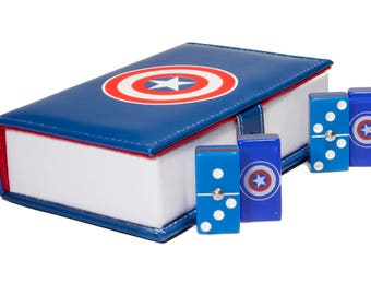 Captain America Domino 100% Acrylic, Faux Leather Case