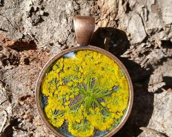 Real cherry golden Queen Anne's lace pendant