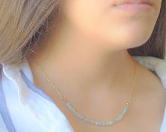 Amazonite Necklace,Beaded Amazonite Necklace,Amazonite Gold Necklace,Chain Necklace in Gold,Delicate Beaded Necklace,Bridal Necklace