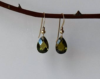 Green Zircon Earrings,Gold Dangle Earrings,Gold Earrings, Green Drop Earrings,Gold Drop Earrings, green Stone Earrings, Gold Filled Earrings
