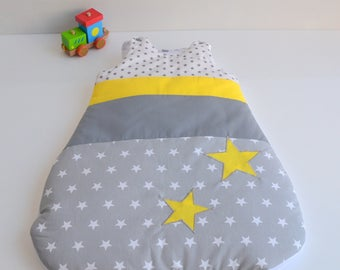 Sleeping bag sleeping bag 0-6 months handmade stars @lacouturebytitia yellow and grey