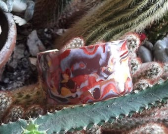 polymer clay Brown and copper Cuff Bracelet