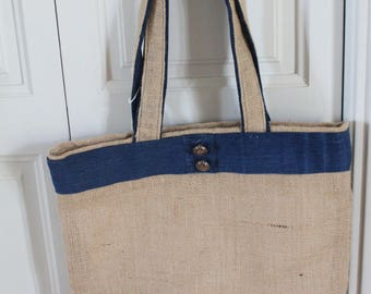 Bag of denim and burlap