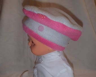 Fleece winter hat (baby - toddler up to 4 years) gray and pink