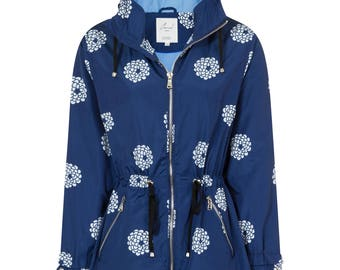 Women's Navy Floral Print Water Resistant Festival Parka