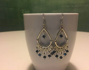 Silver Dangle Hoop Earrings
