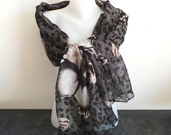 Grey shawl scarf with a big flower
