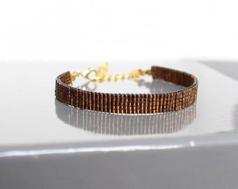 Tan woven bracelet in Miyuki Delica beads