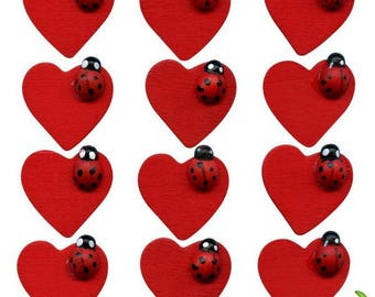 Set of 12 beautiful ladybugs on bright red heart, 2.5 cm, wooden, new