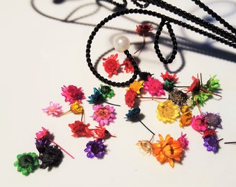 5 genuine mini dried color flowers