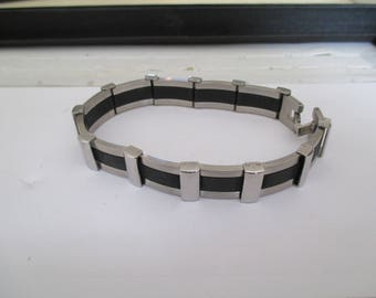 steel gray and black bracelet