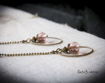 "Long earrings pink Crystal ""Satin"""