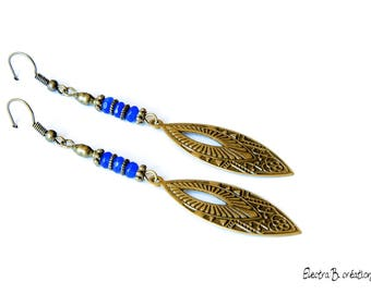 Earrings drop ethnic indigo blue jade and bronze brass