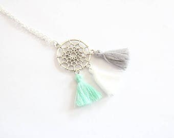 Trio of white and grey green PomPoms and dreamcatcher charm necklace