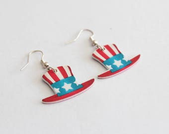 Hat USA wood earrings