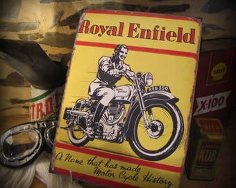 plate metal, print plate enameled 60s royal enfield by deco cars