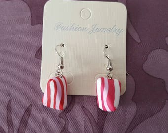 """raspberry humbug"" hook earrings with polymer clay"