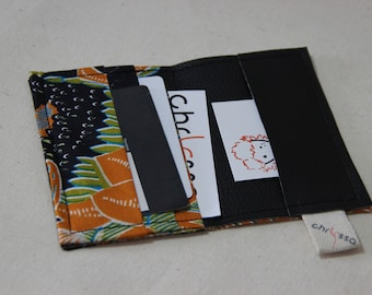Card holder/African wax fabric and faux leather - Java