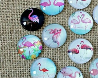6 cabochons Flamingo Pink 12mm
