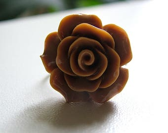 Rose pattern ring ❀ on metal