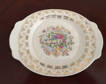 """Leigh Ware 22K Gold Rimmed Oval Serving Tray, """"Old Mirror""""  # LCS220-30"""