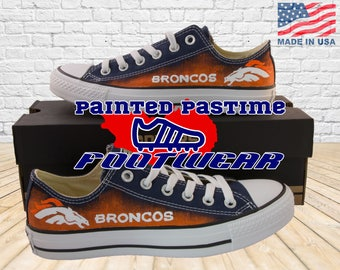 Denver Broncos - Converse Shoes - Hand Painted - Low Tops