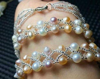 Natural freshwater pearl hand-knitted bracelet many circles