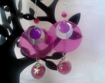 Earrings large Sequin - pink and Fuschia