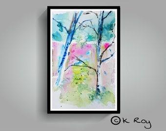 "Abstract watercolor landscape original, 100% hand painted, abstract landscape, 18""×12"", original watercolor"