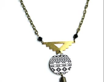 black and white Aztec Motif pendant necklace