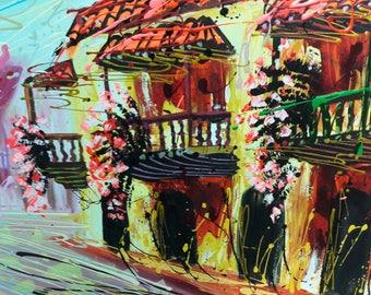 Oil on canvas alluding to balconies of Cartagena