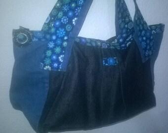 handbag tri colored denim