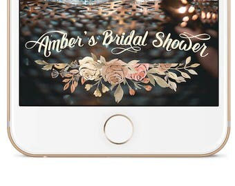 Bridal Shower Snapchat Geofilter Floral Design | Available in Cream, Gold, and Blush Pink