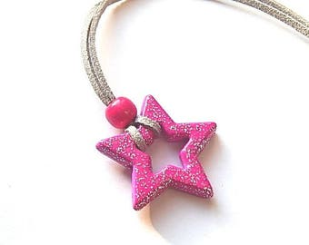 Girl star fuchsia and silver suede