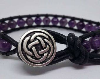 Amethyst Bracelet, AMETHYST Natural Gemstone Leather Wrap Bracelet ( Single Wrap ) Handmade / button closure / purple and black bracelet